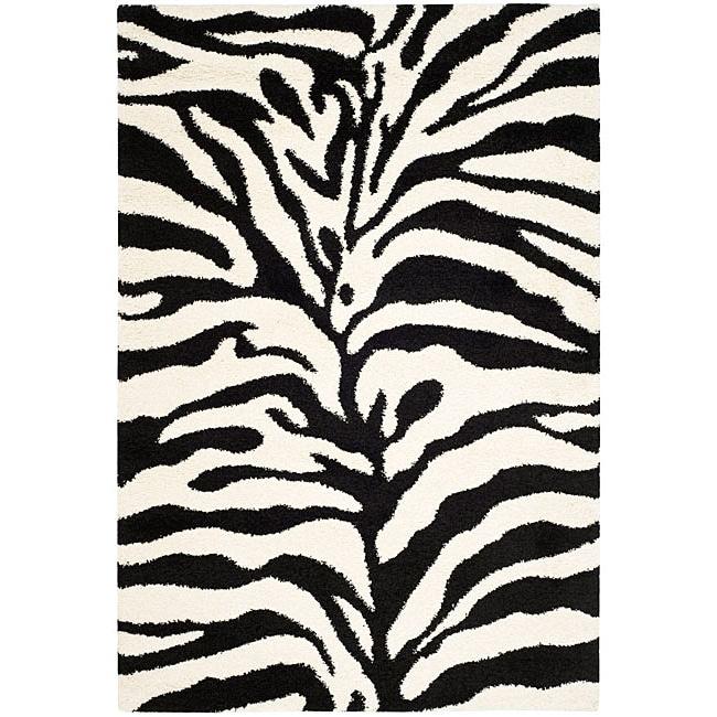 Safavieh Hand-woven Ultimate Ivory/ Black Shag Rug (5'3 x 7'6)