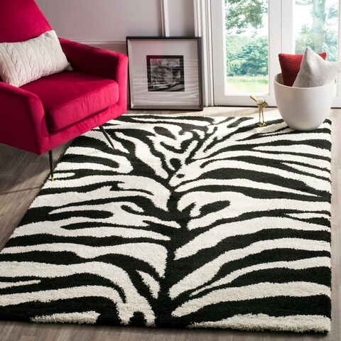 "Safavieh Zebra Shag Off-White/ Black Rug - 5'3"" x 7'6"""