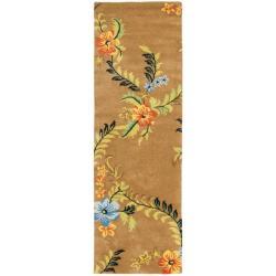 "Safavieh Handmade Soho Brown Floral New Zealand Wool Runner (2'6"" x 8')"