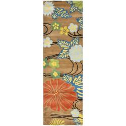 "Safavieh Handmade Soho Brown New Zealand Wool Runner with Cotton-Canvas Backing (2'6"" x 8')"