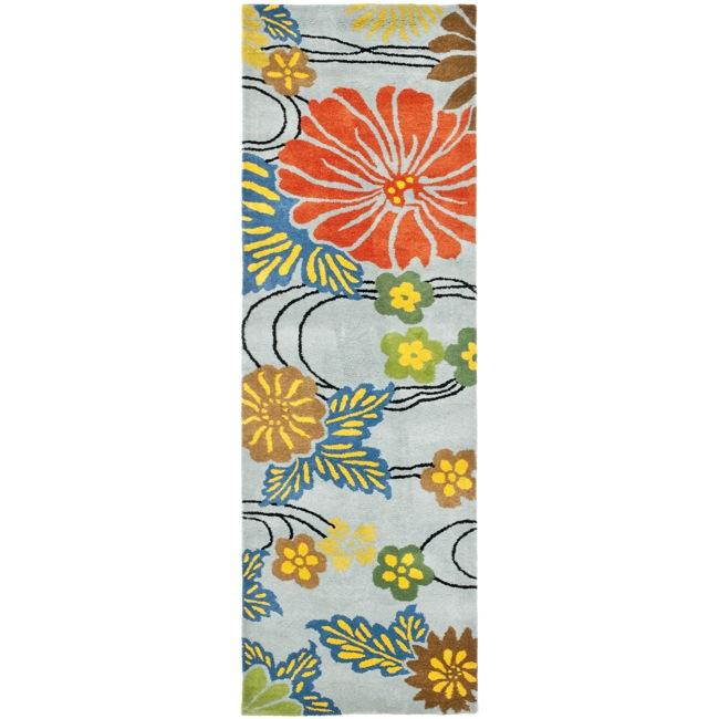 Safavieh Handmade Soho Blue New Zealand Floral Wool Runner (2'6 x 8')