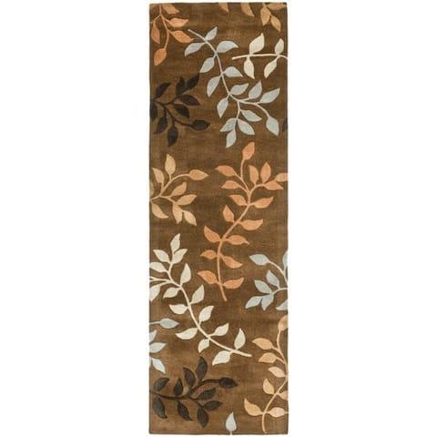 """Safavieh Contemporary Handmade Soho Brown/Multi New Zealand Wool Runner - 2'6"""" x 8'"""