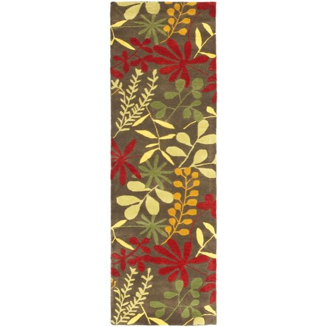 Safavieh Handmade Soho Brown/ Multi New Zealand Wool Runner (2'6 x 8')