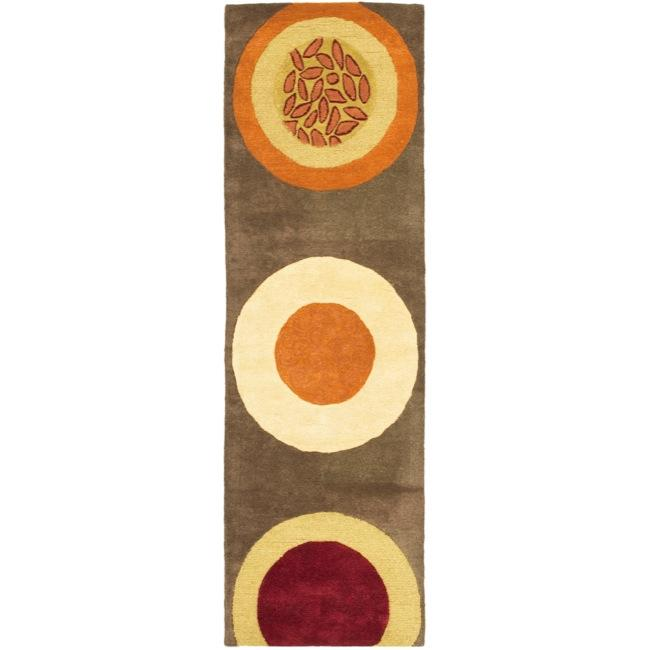 "Safavieh Handmade Soho Brown/Multi New Zealand Wool Floral Runner (2'6"" x 8')"