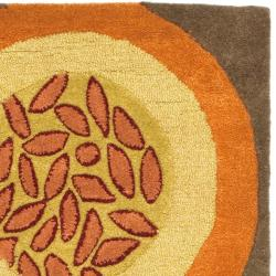 "Safavieh Handmade Soho Brown/Multi New Zealand Wool Floral Runner (2'6"" x 8') - Thumbnail 1"