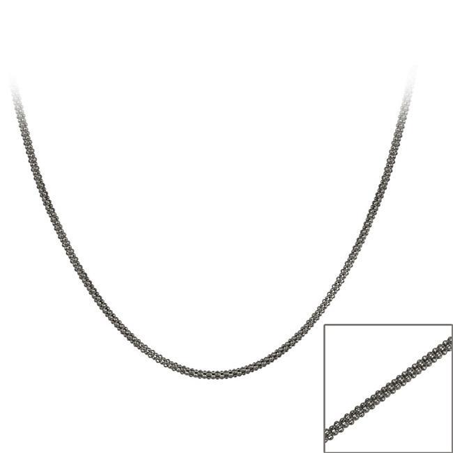 Mondevio Black Rhodium over Silver 36-inch  Italian Popcorn Chain
