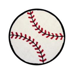 Sports Ball-themed Multi Cotton Rug (3' Round) - Thumbnail 1