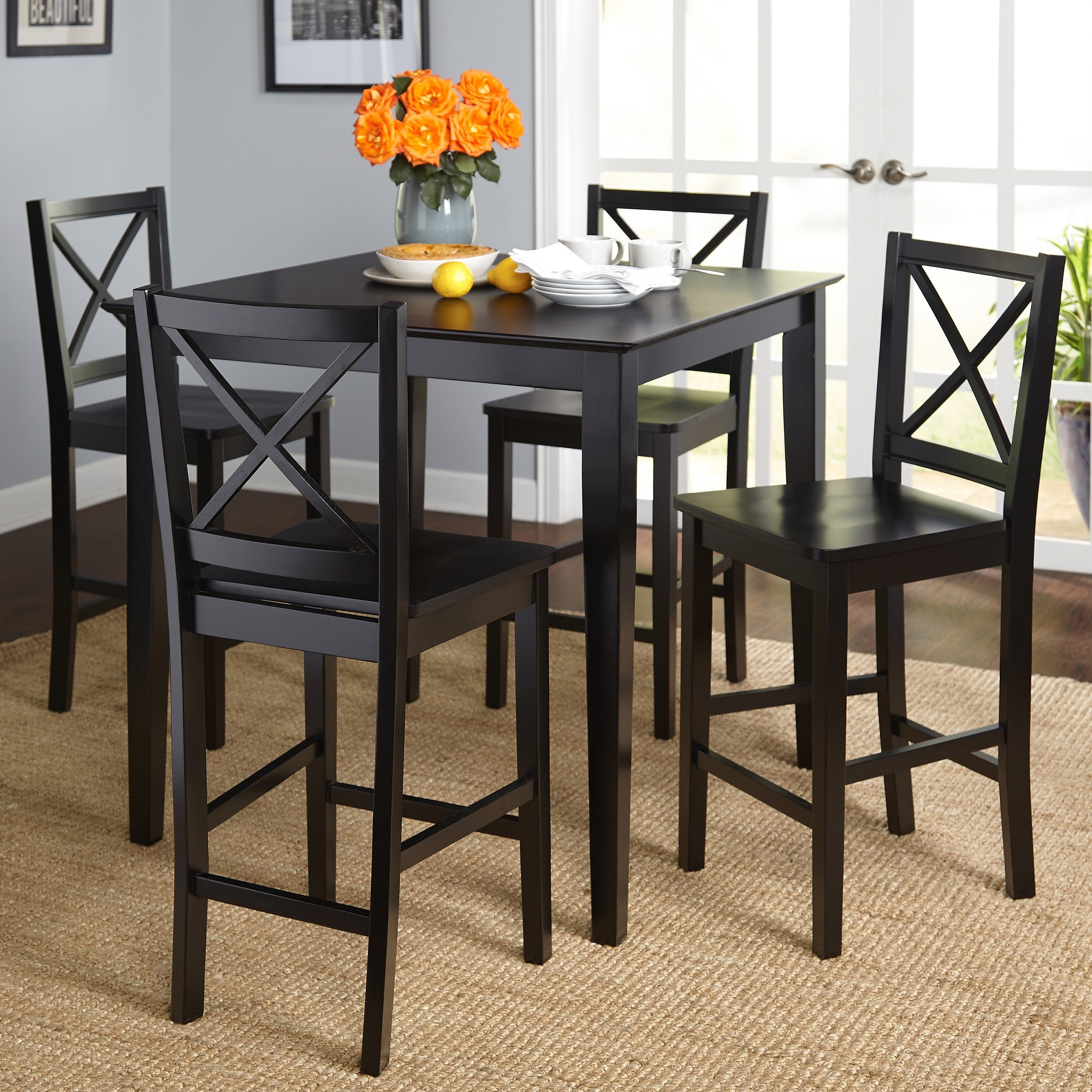 Simple Living Cross Back Counter Height 5 Piece Table And Chair Set (Option: