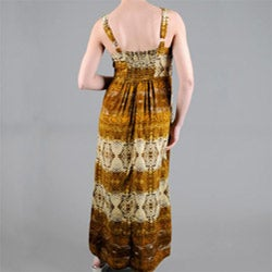Mlle Gabrielle Women's Missy Snakeskin Print Belted Maxi Dress