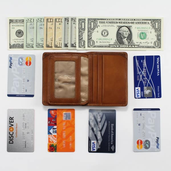 17062e3ca30f35 Tony Perotti Men's Italian Cow Leather Front Pocket Vertical Trifold Wallet  with ID Window