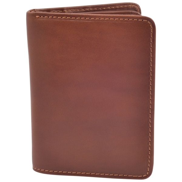 Tony Perotti Men's Italian Cow Leather Front Pocket Vertical Trifold Wallet with ID Window