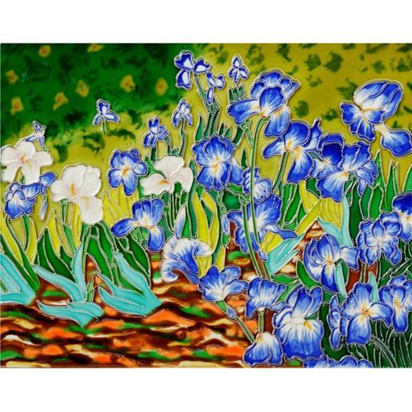 OverstockArt Van Gogh Irises Ceramic Wall Tile