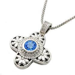 Beverly Hills Charm Silver 1/4ct TDW Diamond and Blue Topaz Cross Necklace