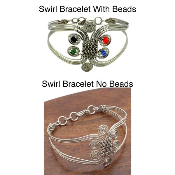 Silverplated Wire Woven Swirl Bracelet (Kenya)