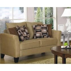 Shop Fountain Valley Camel Microfiber Sofa And Love Seat Set   Free  Shipping Today   Overstock   5775788