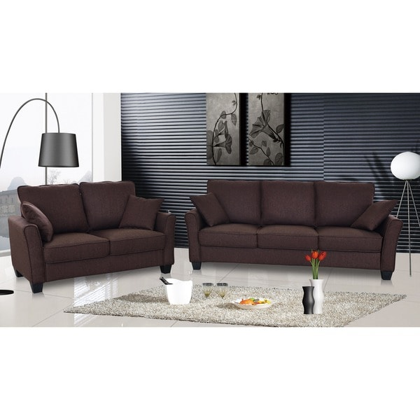 Attirant Shop Fountain Valley Dark Brown Microfiber Sofa And Love Seat Set   Free  Shipping Today   Overstock   5775789