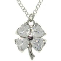 Carolina Glamour Collection Silvertone Cubic Zirconia Clover Necklace