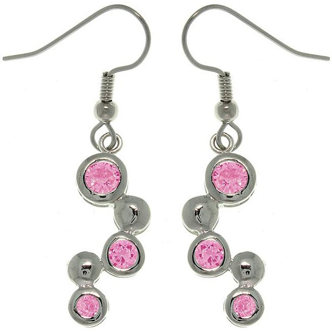 Carolina Glamour Collection Silvertone Pink Cubic Zirconia Earrings