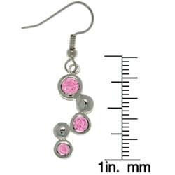 Carolina Glamour Collection Silvertone Pink Cubic Zirconia Earrings - Thumbnail 2