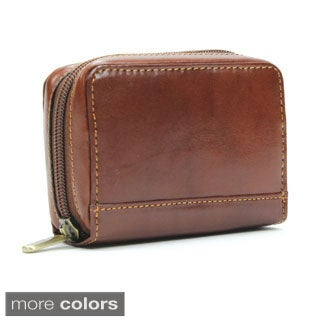 Tony Perotti Unisex Italian Bull Leather Zip-Around Accordion Business and Credit Card Holder