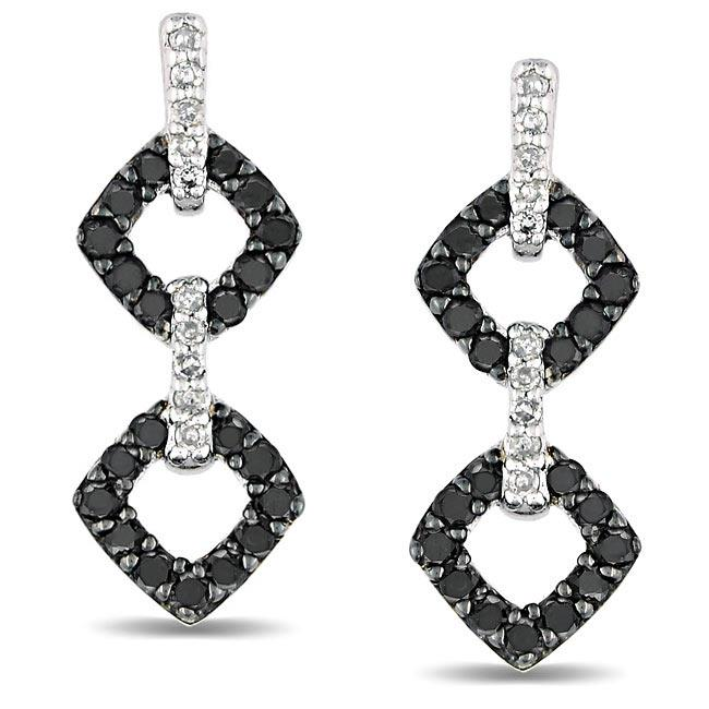 Miadora Sterling Silver 1/2ct TDW Black and White Diamond Earrings