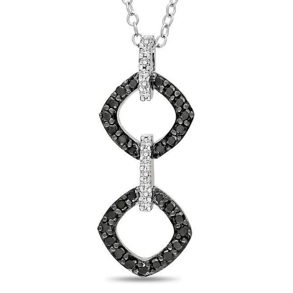 M by Miadora Sterling Silver 1/3ct TDW Black and White Diamond Necklace (G-H, I3)
