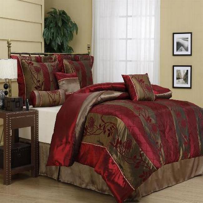 Rosemonde Burgundy 7-piece Comforter Set
