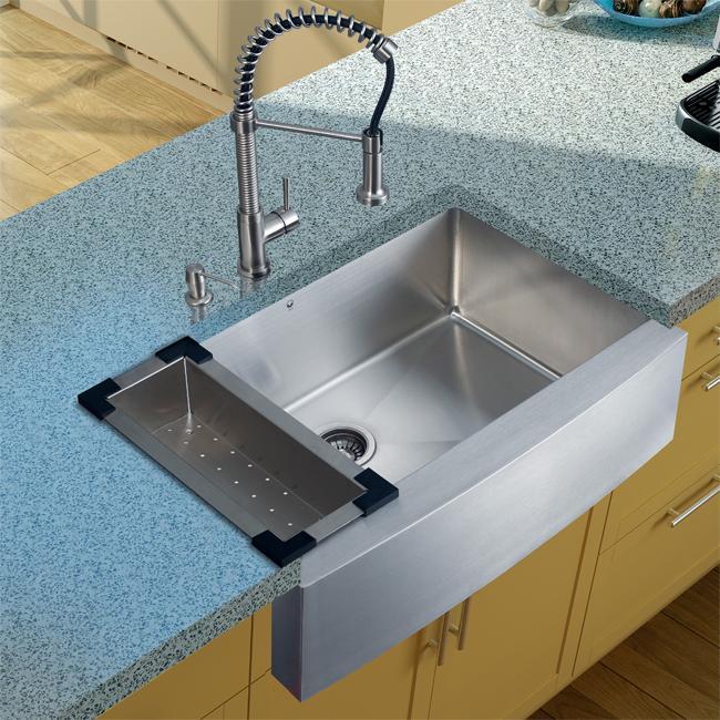 Vigo Farmhouse Stainless Steel Kitchen Sink/ Faucet/ Dispenser/ Colander
