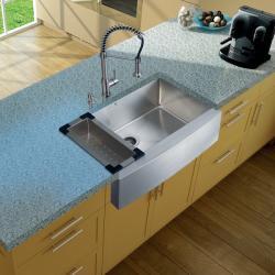 Vigo Farmhouse Stainless Steel Kitchen Sink/ Faucet/ Dispenser/ Colander - Thumbnail 2