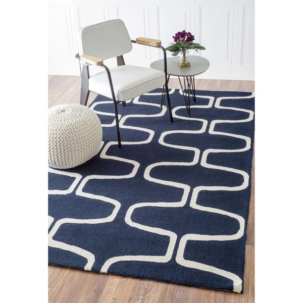 Abstract Hand-hooked Alexa Moroccan Trellis Wool Rug (7'6 x 9'6)