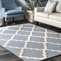 nuLOOM Hand-hooked Alexa Moroccan Trellis Wool Rug (7'6 x 9'6) - 7'6 x 9'6