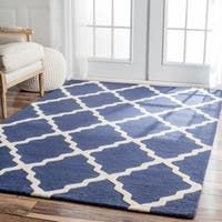 nuLOOM Handmade Moroccan Lattice Navy Wool Rug - 5' x 8'
