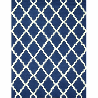 nuLOOM Handmade Moroccan Lattice Navy Wool Rug (7'6 x 9'6)