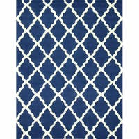 nuLOOM Handmade Moroccan Lattice Navy Wool Rug - 7'6 x 9'6