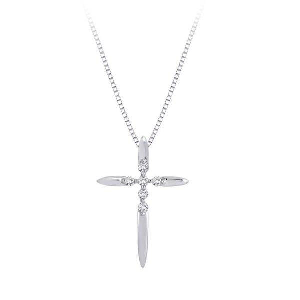 10k White Gold 1/10ct TDW Diamond Cross Necklace (H, I3)
