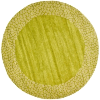 Safavieh Handmade Soho Boyanka Border N.Z. Wool Rug (6 x 6 Round - Green/Light Green)