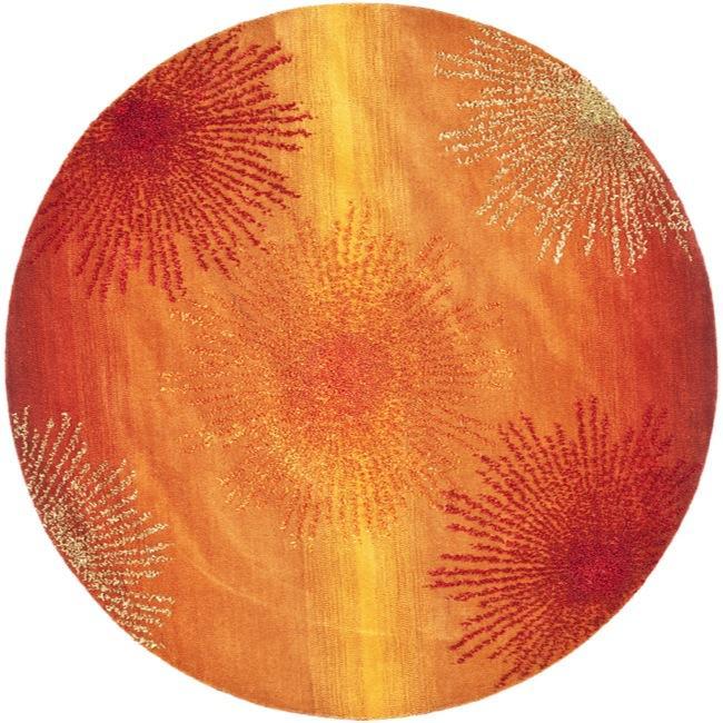Safavieh Handmade Soho Burst Rust New Zealand Wool Rug (6' Round)