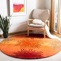 Safavieh Handmade Soho Burst Rust New Zealand Wool Rug (6' Round) - 6' Round