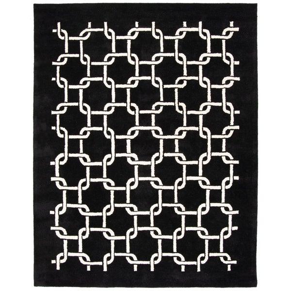 "Safavieh Handmade Soho Black New Zealand Wool Rug - 7'6"" x 9'6"""
