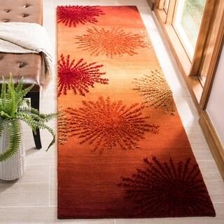 """Safavieh Handmade Soho Burst Rust New Zealand Wool Runner - 2'-6"""" x 8'"""