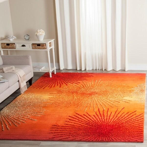 Safavieh Handmade Soho Burst Rust New Zealand Wool Rug - 7'6 x 9'6