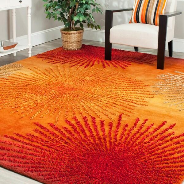 Safavieh Handmade Soho Burst Rust New Zealand Wool Rug (7'6 x 9'6)
