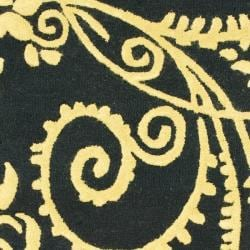 Safavieh Handmade Soho Black Green/ Ivory N. Z. Wool Runner (2'6 x 8')