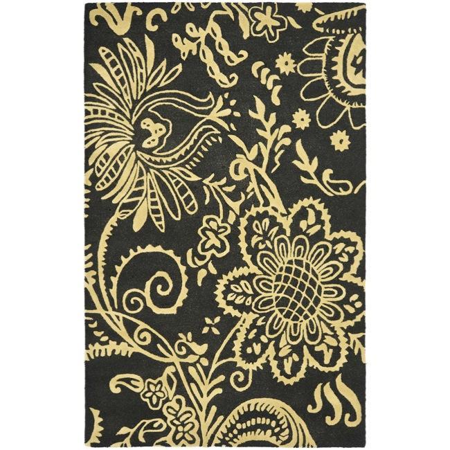 Safavieh Handmade Soho Black Green/ Ivory New Zealand Wool Rug - 7'6 x 9'6