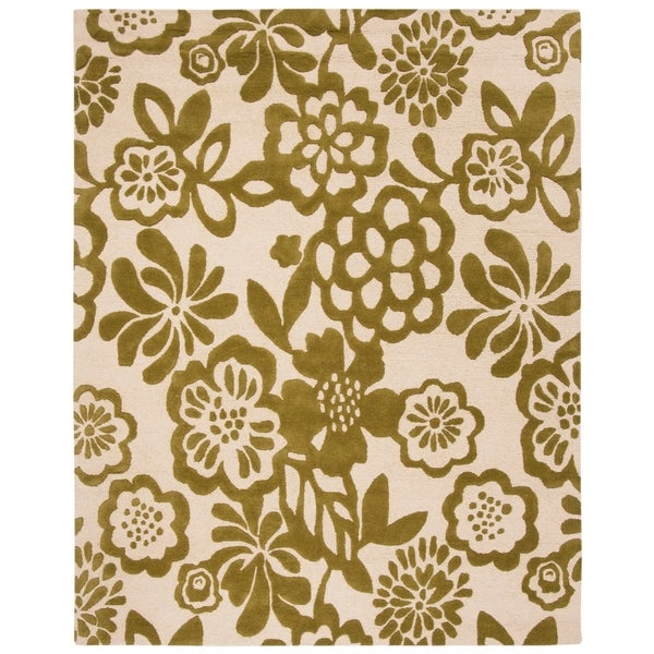 "Safavieh Handmade Soho Beige/ Green New Zealand Wool Rug - 7'6"" x 9'6"""