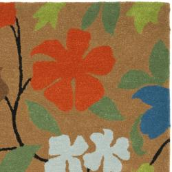 Safavieh Handmade Soho Brown Floral New Zealand Wool Rug (7'6 x 9'6) - Thumbnail 1