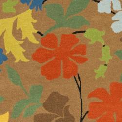 Safavieh Handmade Soho Brown Floral New Zealand Wool Rug (7'6 x 9'6) - Thumbnail 2