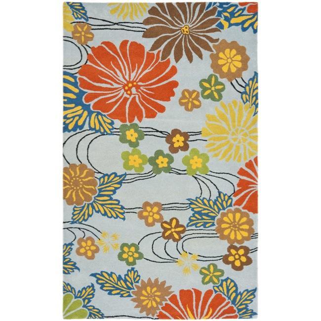 Safavieh Handmade Soho Blue New Zealand Floral Wool Rug (7'6 x 9'6)