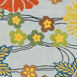 Safavieh Handmade Soho Blue New Zealand Floral Wool Rug (7'6 x 9'6) - Thumbnail 2