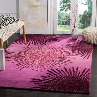 Safavieh Handmade Soho Burst Green New Zealand Wool Rug - 5' x 8'
